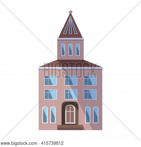European Pink Old House In The Traditional Dutch Town Style With A Double Gable Roof, Turret, Narrow