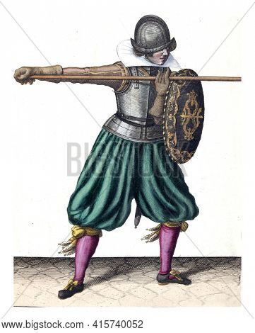 The exercise with shield and spear: the soldier brings the spear in position in three times, third movement with the spear straight ahead, vintage engraving.