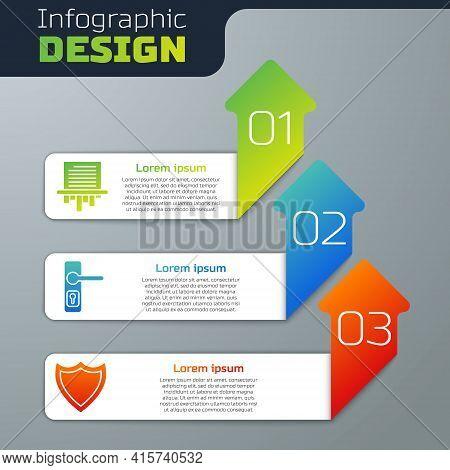 Set Paper Shredder, Door Handle And Shield. Business Infographic Template. Vector