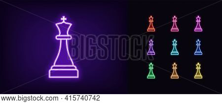 Neon Chessmen King Icon. Glowing Neon King Sign, Outline Chess Piece, Silhouette In Vivid Colors. On