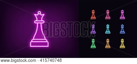 Neon Chessmen Queen Icon. Glowing Neon Queen Sign, Outline Chess Piece, Silhouette In Vivid Colors.