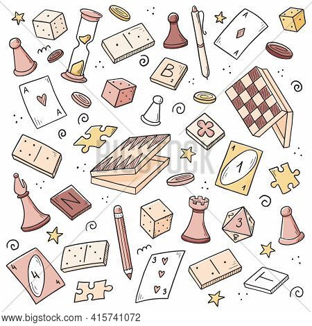 Hand Drawn Set Of Board Game Element, Cards, Chess, Hourglass, Chips, Dice, Dominoes. Doodle Sketch