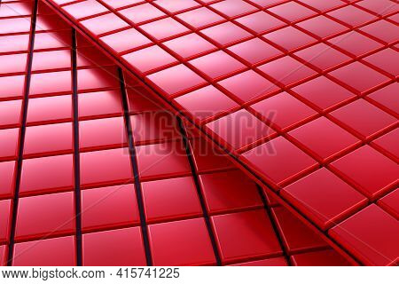 3d Rendering Of A Background With A Lot Of Red Squares