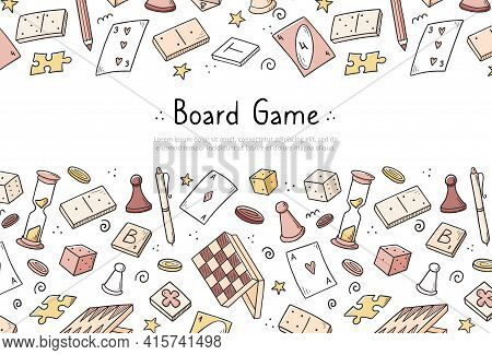 Hand Drawn Website Banner Template With Of Board Game Element. Doodle Sketch Style. Vector Illustrat