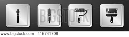 Set Paint Brush, Pipette, Paint Roller Brush And Paint Brush Icon. Silver Square Button. Vector