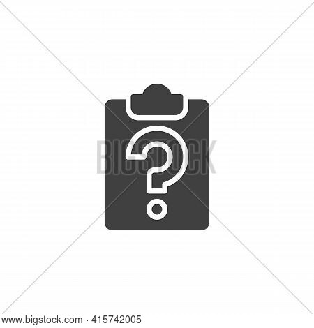 Survey, Questionnaire Form Vector Icon. Filled Flat Sign For Mobile Concept And Web Design. Paper Cl