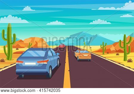 Highway Road In Desert. Sandy Desert Landscape With Road, Rocks, Car And Cactuses. Summer Western Am