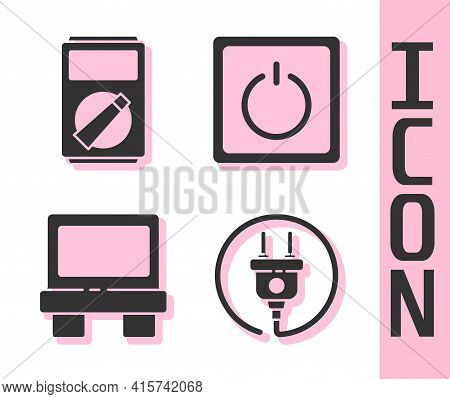 Set Electric Plug, Multimeter, Fuse And Electric Light Switch Icon. Vector