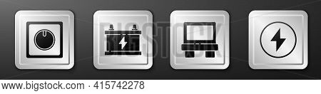 Set Electric Light Switch, Car Battery, Fuse And Lightning Bolt Icon. Silver Square Button. Vector