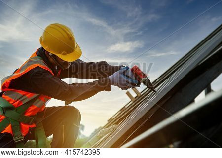 Technician Roofer Worker In Protective Uniform Wear And Gloves, Construction Worker Install New Roof