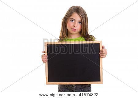 child girl with blank frame copy space holding black blackboard