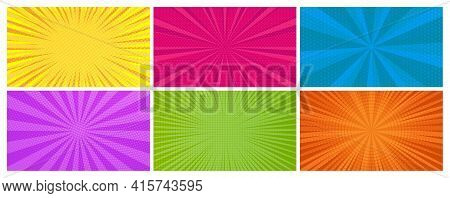 Set Of Six Comic Book Pages Backgrounds In Pop Art Style With Empty Space. Template With Rays, Dots