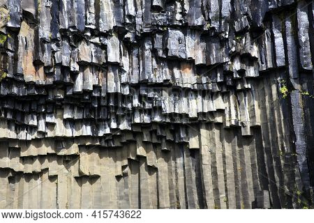 Skaftafell / Iceland - August 18, 2017: The Basalt Column Near The Black Waterfall Of Svartifoss In