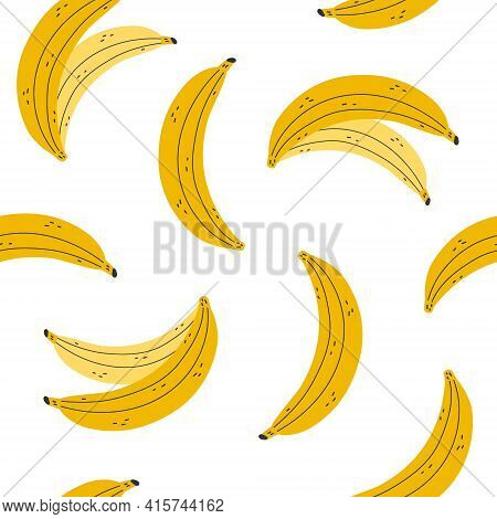 Seamless Pattern With Bananas  On A White Background. Yellow Banana. Vector Illustration.