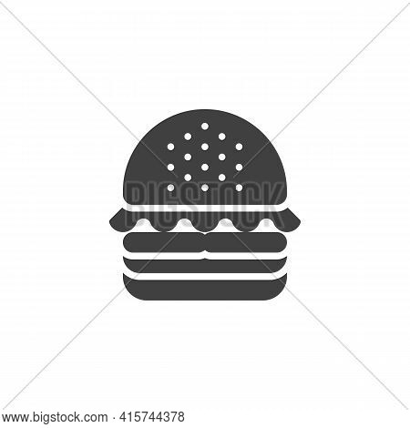 Hamburger Vector Icon. Filled Flat Sign For Mobile Concept And Web Design. Cheeseburger Burger Glyph