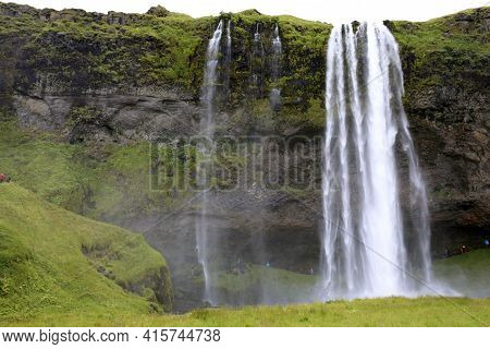 Seljalandsfoss / Iceland - August 15, 2017: Seljalandsfoss One Of The Most Famous Icelandic Waterfal