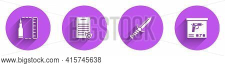 Set Bullet, Firearms License Certificate, Military Knife And Ammunition Box Icon With Long Shadow. V