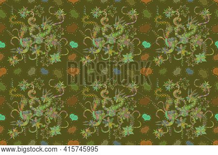 Nice Pattern For Wrapping Paper Raster. Doodles Green, Neutral And Brown On Colors. Seamless Pattern