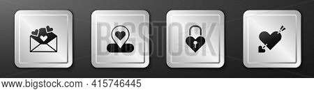Set Envelope With Valentine Heart, Location, Castle The Shape Of And Amour And Arrow Icon. Silver Sq