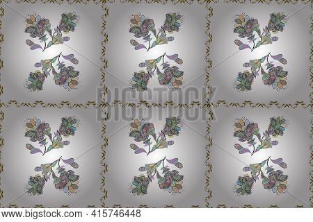 Vintage Flower Design Elements. Neutral, White And Brown Curly Flowers Shapes On Neutral, White And