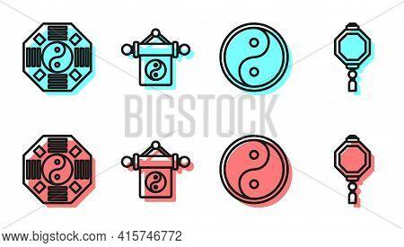 Set Line Yin Yang, Yin Yang, Yin Yang And Chinese Paper Lantern Icon. Vector