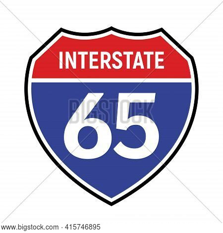 65 Route Sign Icon. Vector Road 65 Highway Interstate American Freeway Us California Route Symbol