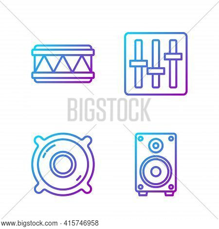 Set Line Stereo Speaker, Stereo Speaker, Drum And Sound Mixer Controller. Gradient Color Icons. Vect
