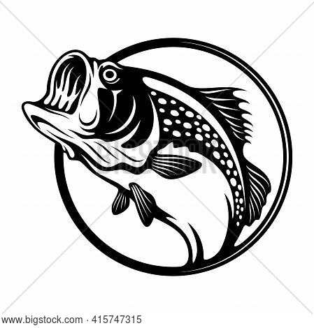 Bass Fish - Fishing Logo. Template Club Emblem. Fishing Theme Vector Illustration.