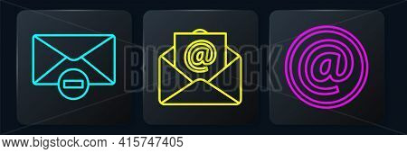 Set Line Delete Envelope, Mail And E-mail And Mail And E-mail. Black Square Button. Vector