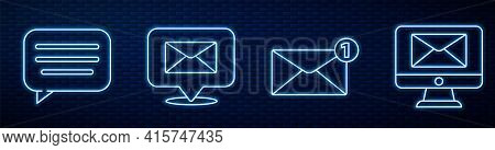 Set Line Envelope, Speech Bubble Chat, Speech Bubble With Envelope, Monitor And Envelope And Mail Bo