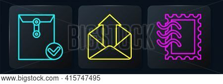 Set Line Envelope And Check Mark, Postal Stamp And Outgoing Mail. Black Square Button. Vector