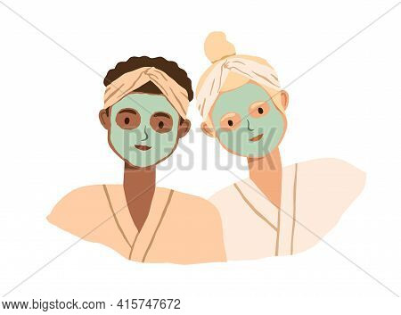 Portrait Of Two Women With Clay Facial Masks On Their Faces. Spa Skin Care Treatment Of Girlfriends