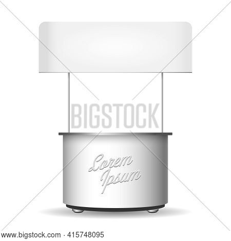 Empty White Retail Stand Vector Stall Template. Store And Marketing, Advertisement Sale, Promotion T