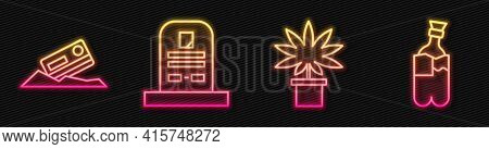 Set Line Marijuana Or Cannabis Plant In Pot, Cocaine And Credit Card, Tombstone With Rip Written And