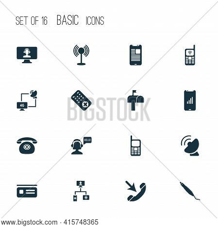 Connection Icons Set With Computer Operator, Mobile Network, Greeting Female Operator And Other Old