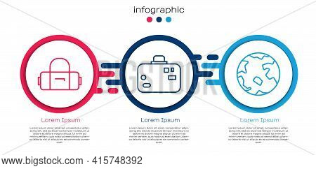 Set Line Suitcase, Suitcase And Worldwide. Business Infographic Template. Vector