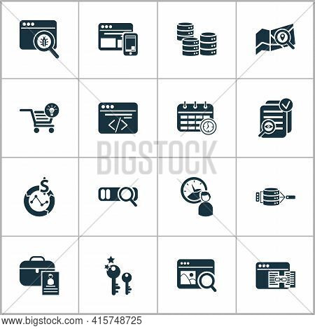 Business Icons Set With Ecommerce Solution, Local Search, Image Search And Other Photo Content Eleme