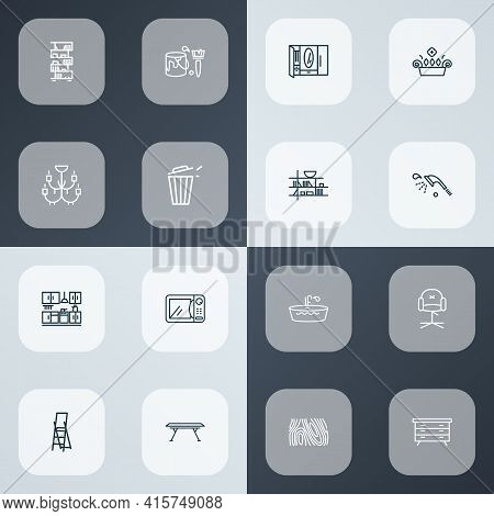 House Icons Line Style Set With Dresser, Kitchen Set, Chandelier Closet Elements. Isolated Vector Il