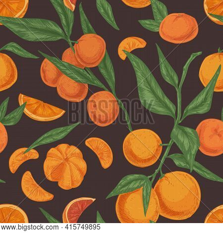 Seamless Citrus Pattern With Clementines Or Tangerines, Leaves And Branches Of Mandarin Tree On Dark