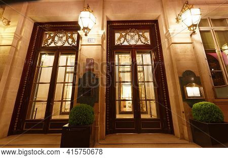 Paris, France-april 04, 2021 : The Luxury Hotel Palace Le Meurice Located In The Center Of Paris On