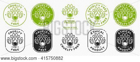 Concept For Product Packaging. Labeling - Cruelty Free And Ethical Product. Animal Footprint Icon Wi