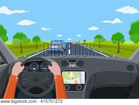 View Of The Road From The Car Interior. Vehicle Salon, Inside Car Driver . Road With Cars. Hands On
