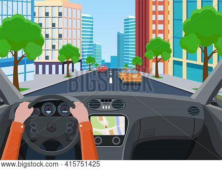 View Of The Road From The Car Interior. Road With Cars.. Hands On Steering Wheel, Inside Car Driver.