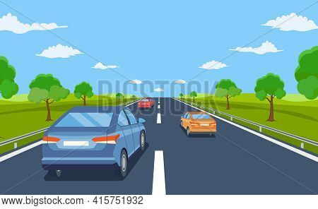 Highway Drive With Beautiful Landscape. Travel Road Car View. Road With Cars. City Traffic On Highwa