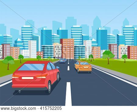Highway Drive With Beautiful Landscape. Travel Road Car View. Road With Cars Leading To The City.. C