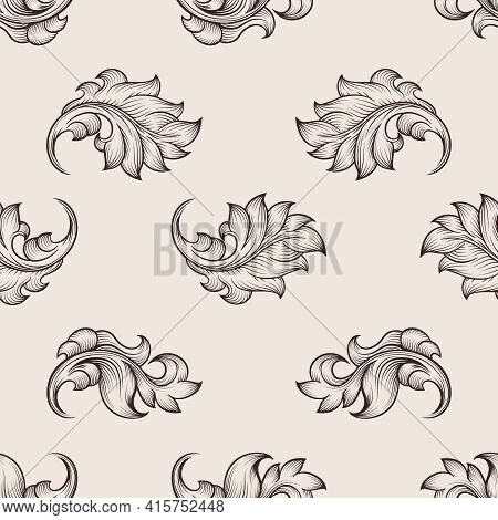 Engraved Floral Pattern. Repetition Floral Seamless Background, Floral Decor Backdrop, Floral Vector