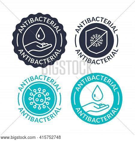 Antibacterial Soap Logo Antiseptic Bacteria Clean Medical Symbol. Anti Bacteria Vector Label Design