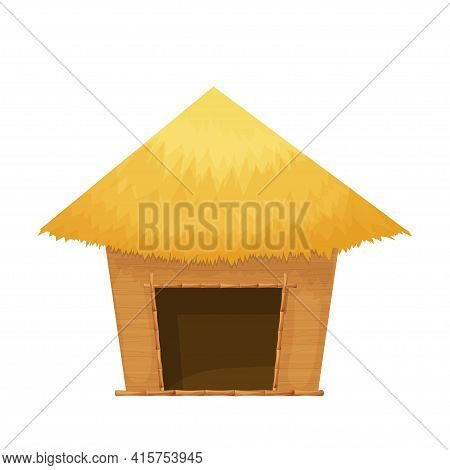 Beach Hut Or Bungalow With Straw Roof, Wooden In Cartoon Style Isolated On White Background. Bamboo