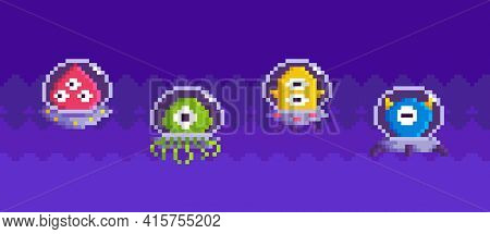 Colored Ufo As Elements Of Gameplay About Space. Aliens In Transparent Saucers Flying In Sky