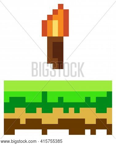Vector Pixel Torch. Pixel Art 8-bit. Illustration Of Pixelated Object With Fire On White Background